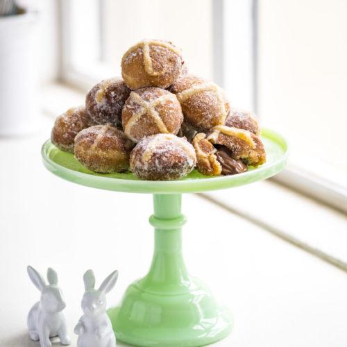 Easter Hot Cross Bun Doughnuts stuffed with Chocolate
