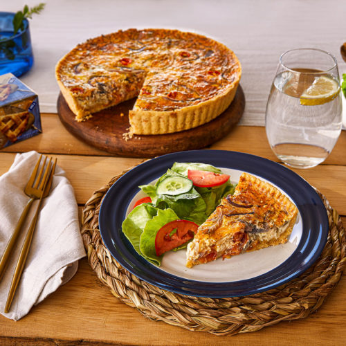 Caramelised Onion, Tomato and Cheddar Quiche
